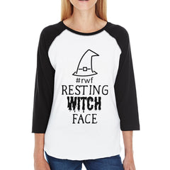 Rwf Resting Witch Face Womens Black And White BaseBall Shirt - Slangz TeeZ