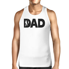 Dad Fish Mens White Graphic Tanks Unique Dad Gifts From Daughter - Slangz TeeZ