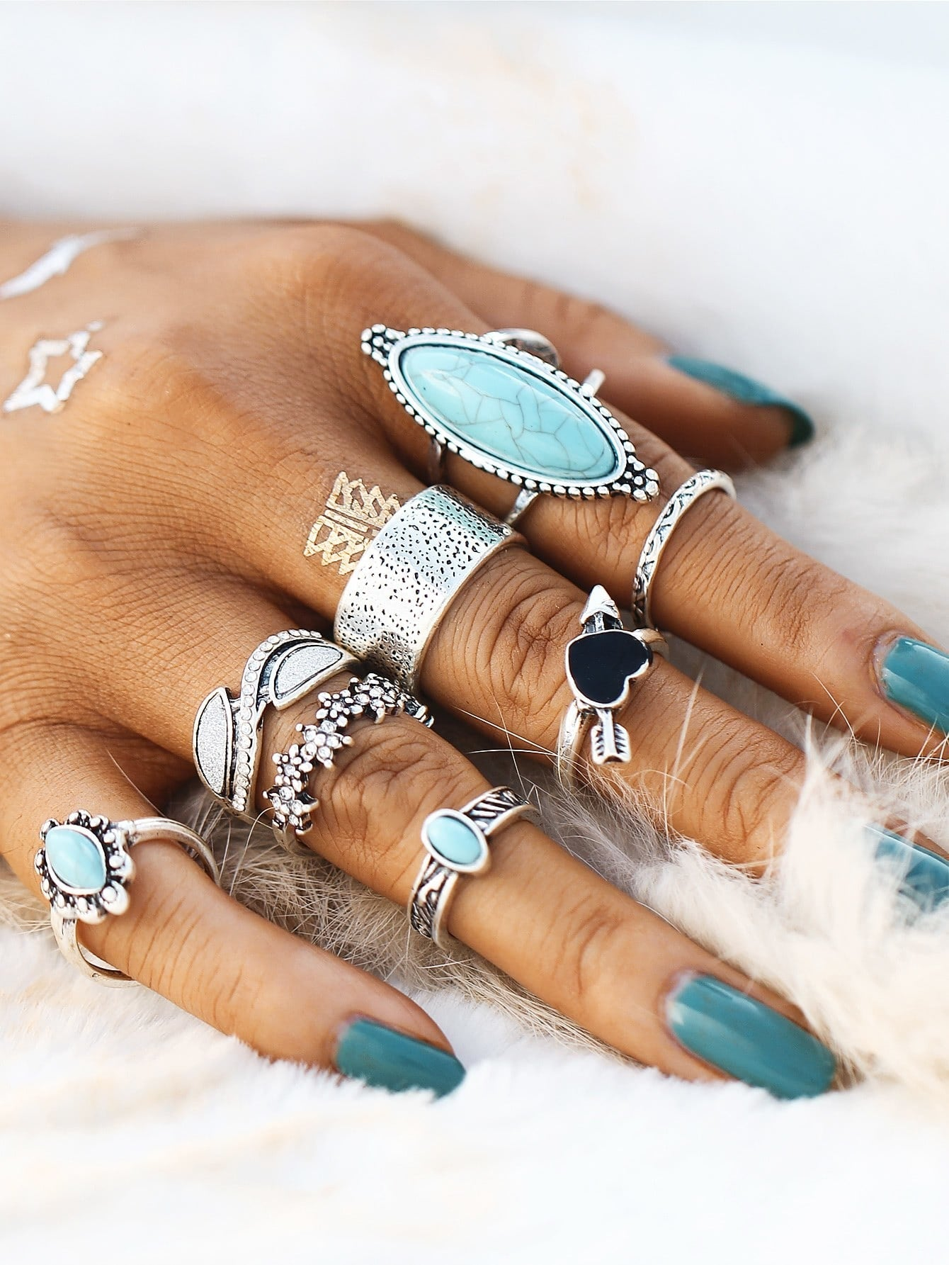 Heart & Flower Design Ring Set With Turquoise 8pcs - Slangz TeeZ