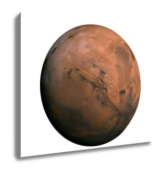 Gallery Wrapped Canvas, Solar System Mars Isolated Planet On White - Slangz TeeZ