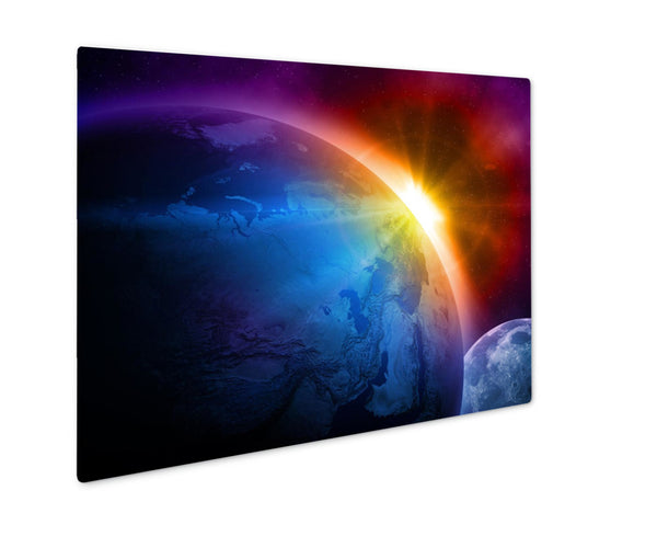 Metal Panel Print, Planet Earth With Sunrise In Space - Slangz TeeZ