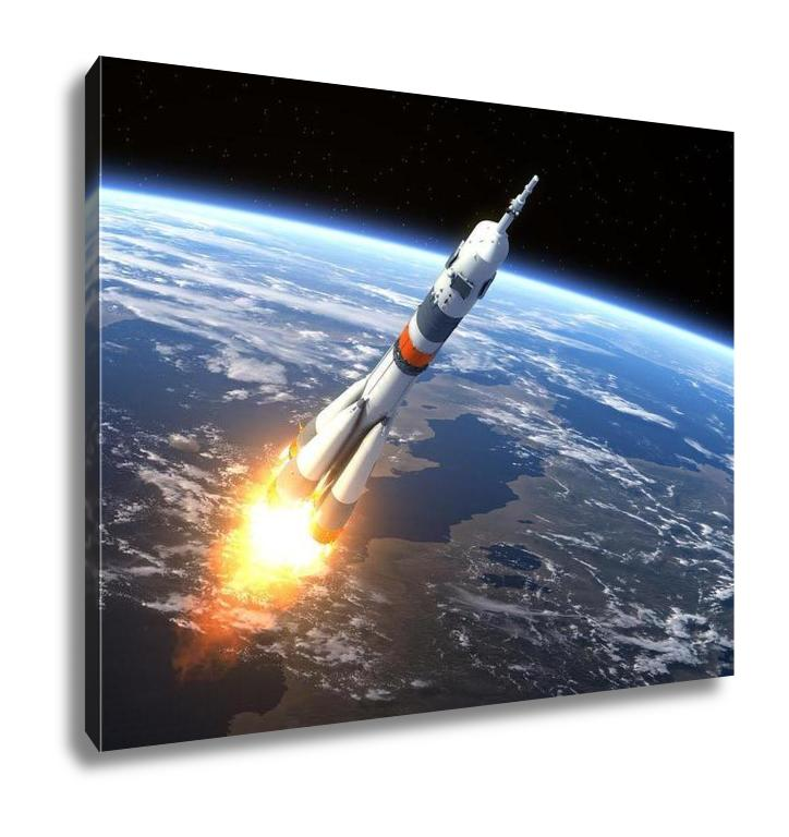 Gallery Wrapped Canvas, Carrier Rocket Soyuzfg Launching - Slangz TeeZ