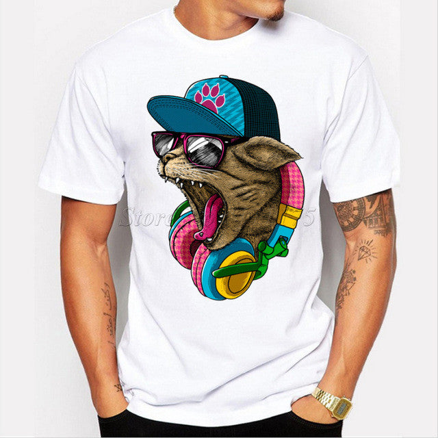 Crazy DJ Cat Design T shirt - Slangz TeeZ