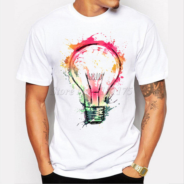 Color Painted Bulb Design Men's T shirt Cool Fashion Tops Short Sleeve Tees - Slangz TeeZ
