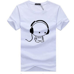 Headset Cartoon DJ Printed Casual T Shirt - Slangz TeeZ