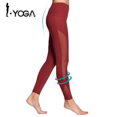 Women Yoga Compression Pants Mesh Leggings - Slangz TeeZ