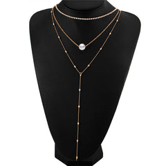 Multi Layer Long Choker Necklaces Collier Beads Pendant Necklace Bijoux Fashion Boho Jewelry - Slangz TeeZ