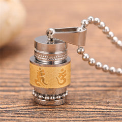 Stainless Steel Buddhism Prayer Wheel  Necklace - Slangz TeeZ