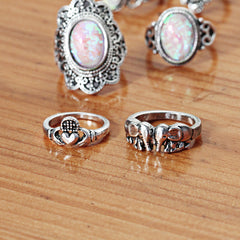 Vintage Flower Opal Knuckle Rings 7 PCS/Set - Slangz TeeZ