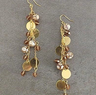 Brown Agate Swarvoski Gold Disc Earrings - T. Victoria Accessories