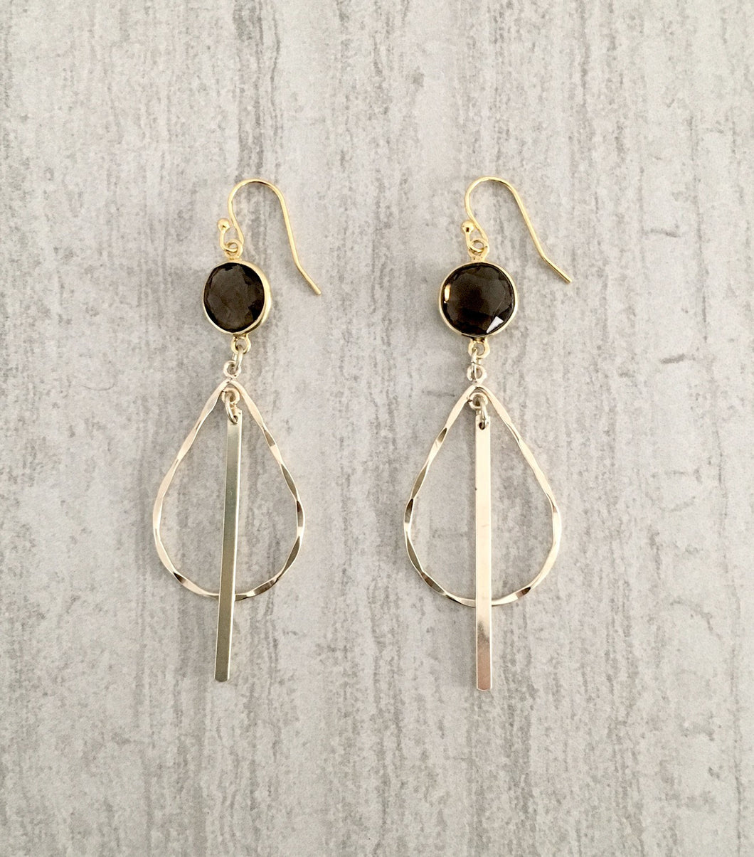 smoky quartz teardrop gold bar hoop earrings