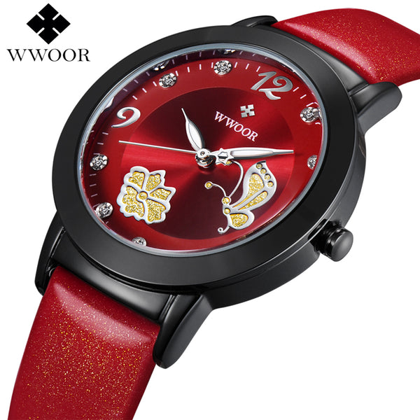 Flower Butterfly Leather Wrist Watch