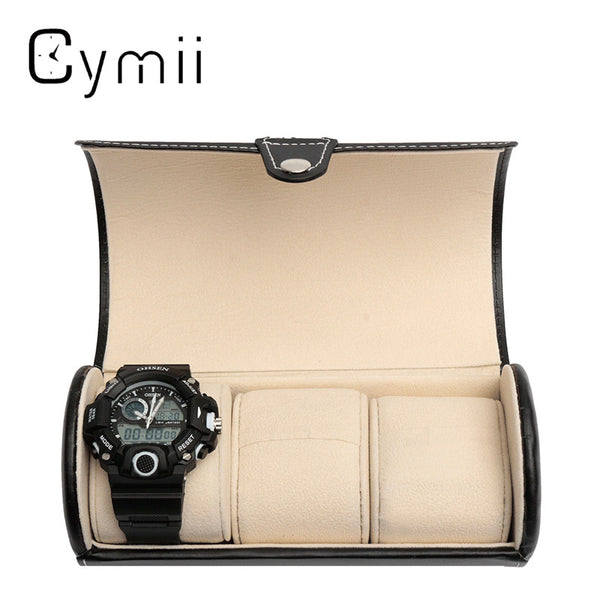Leather 3-Slot Cylindrical Watch Gift/Travel Case Leather