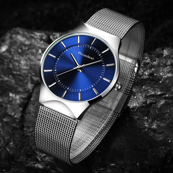 Ultra Thin Steel Strap Casual Quartz Watch