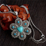 Natural Stone Vintage Crystal Flower Necklace