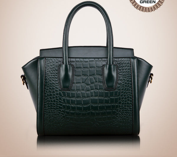 Genuine Leather Handbag with Crocodile Pattern