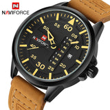 Men's Leather Military Wrist Watch