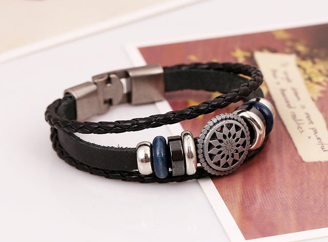 Pattern Charm Bracelet with Braided Leather Wristband
