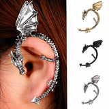 Vintage Gothic Twine Dragon Shape Ear Cuff Earrings