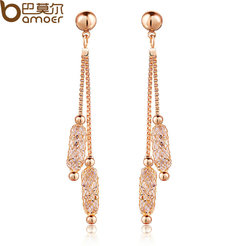 Champagne Gold Colored Earrings with Zircon Crystal