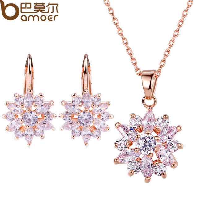 Gold Color Flower Jewelry Set with Colorful AAA Cubic Zircon