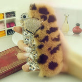 Real Rabbit fur iPhone Case with Rhinestones