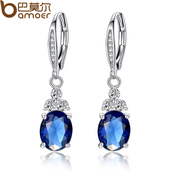 Blue Crystal Anti-allergic Droplet Ear Rings