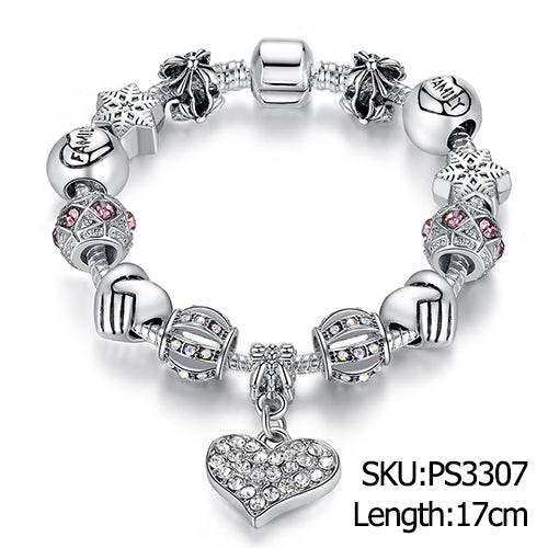 Unique Silver Crystal Charm Bracelet for Women