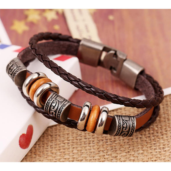 Vintage Beads with Handmade Woven Brown Leather Bracelet