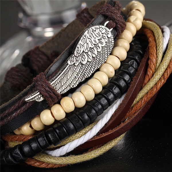Turkish Wing Bracelets with Leather Bracelet