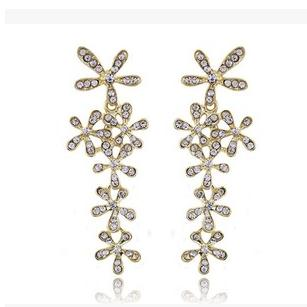Gold Color Flower Rhinestone Earrings