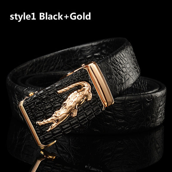 Genuine Pu Leather Crocodile Buckle Dress Belt