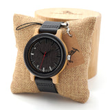 Men's Wooden Watch with Real Leather Strap