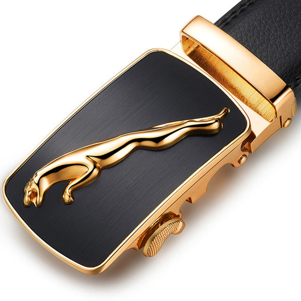Genuine Pu Leather Leopard Buckle Dress Belt
