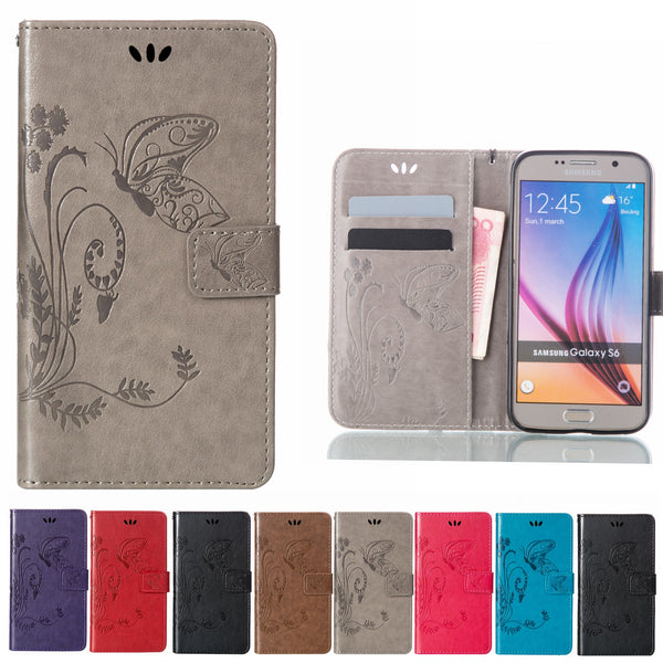 Leather Flip Wallet Case For Samsung Galaxy