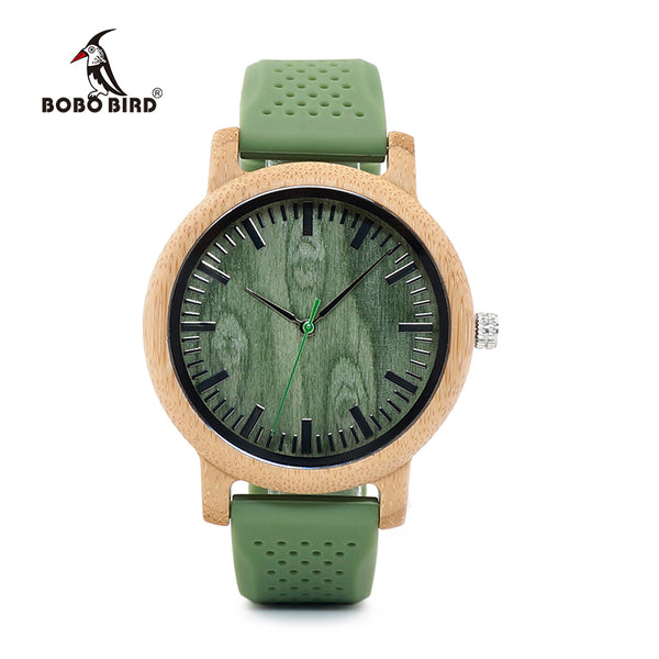 Bamboo Wood Watches with Soft Green Silicone Strap
