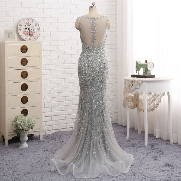Luxury Full Beaded V-neck Evening Long Dress