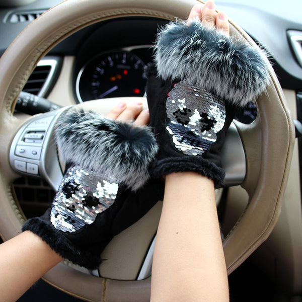 Silvery Sequin Skull Design Rabbit Fur Gloves