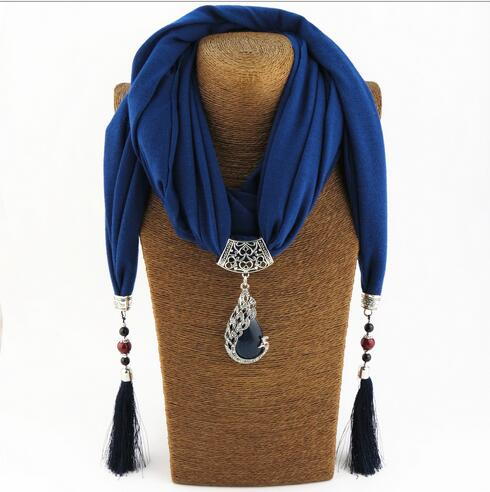 Silk Scarf Necklace with Peacock Pendant