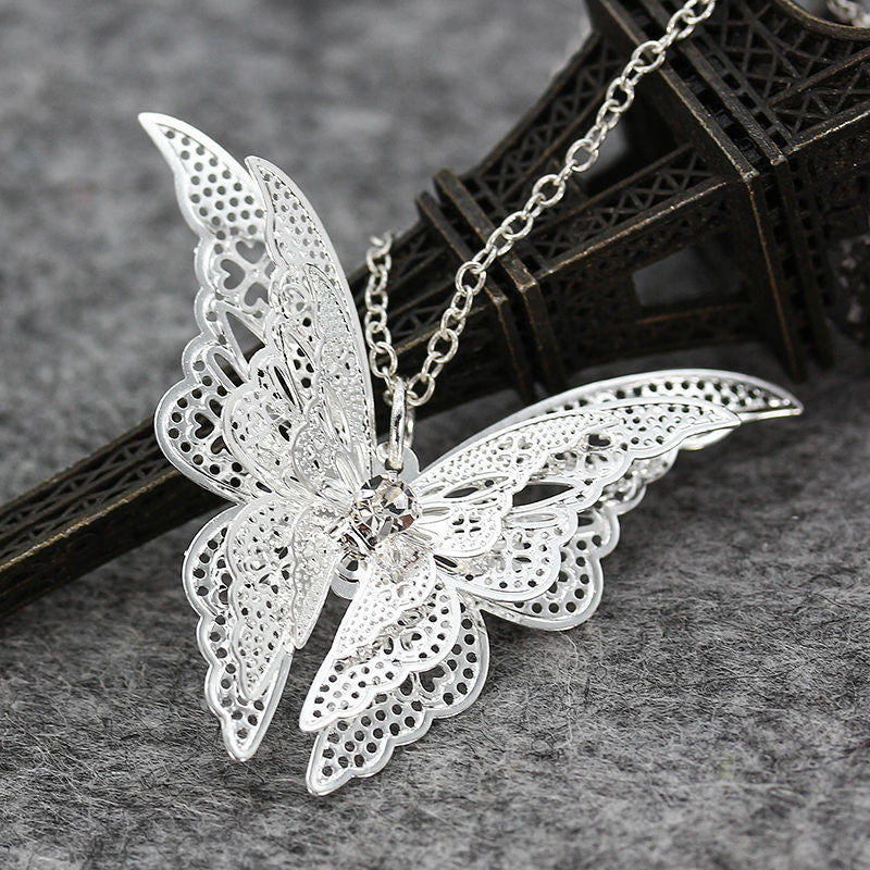 Silver Plated White Butterfly Pendant Necklace