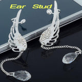 Angel Wings Silver Plated Rhinestone Clamp Ear Cuffs