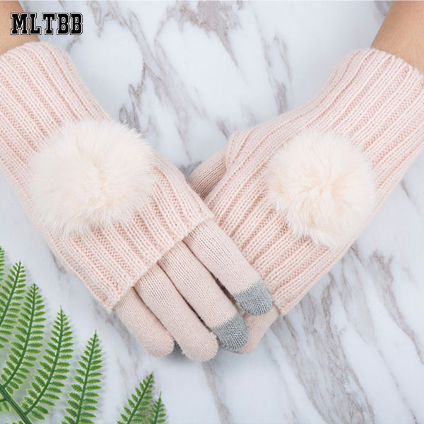 Fur Ball Two Piece Touch Screen Mittens