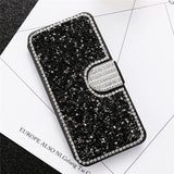 Flip Phone Case For iPhone 6 6S 7 8 Plus 5 5S SE Bling Diamond Stand Wallet Back Cover Shells Capinhas