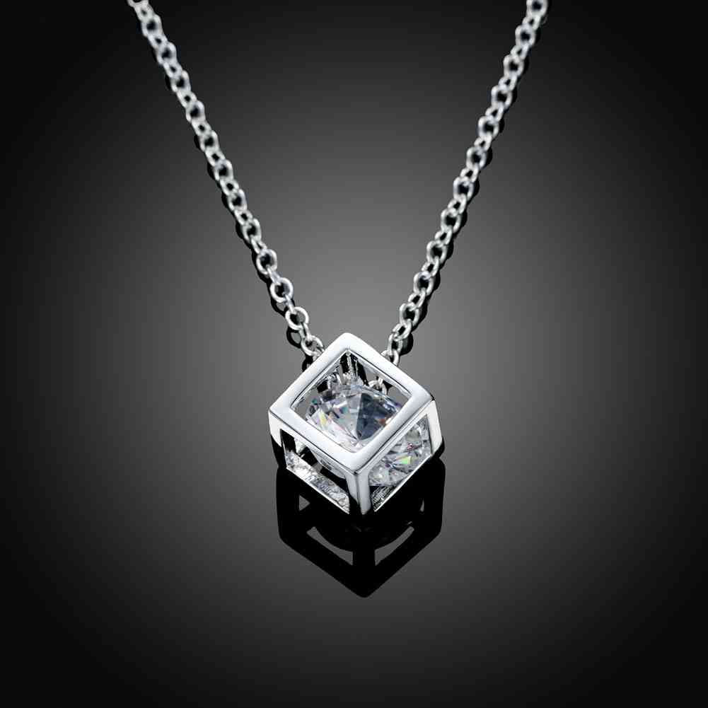 Silver Necklace Chain with Cube Zircon Pendant