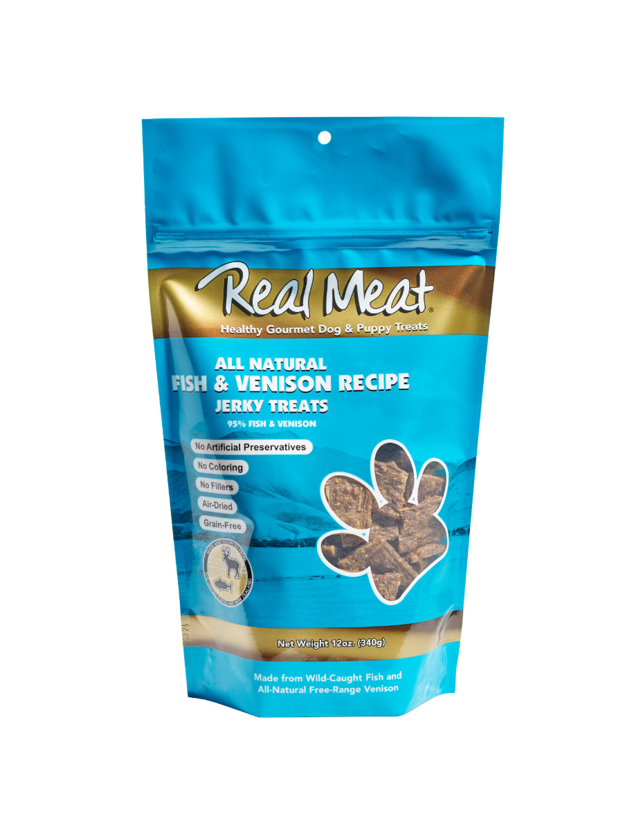 REAL MEAT 95% FISH & VENISON JERKY TREATS