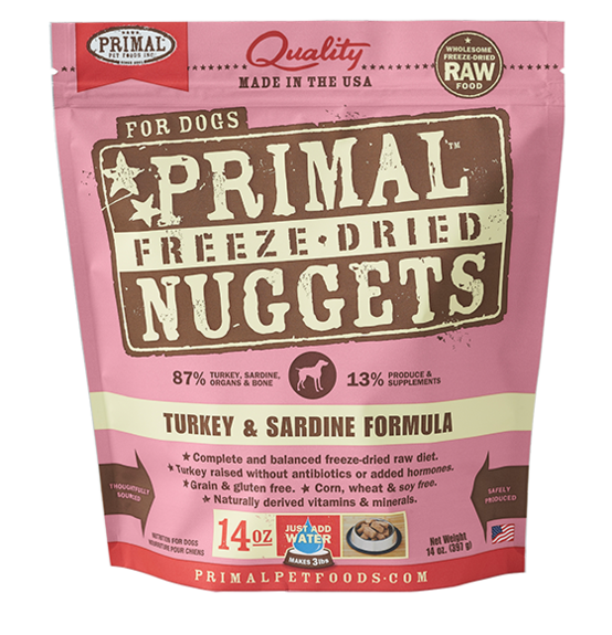 PRIMAL DOG FREEZE DRIED TURKEY AND SARDINE NUGGETS