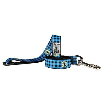 RC PET LEASH BLUE BUFFALO PLAID