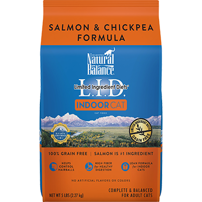 NATURAL BALANCE L.I.D. INDOOR CAT SALMON & CHICKPEA FORMULA