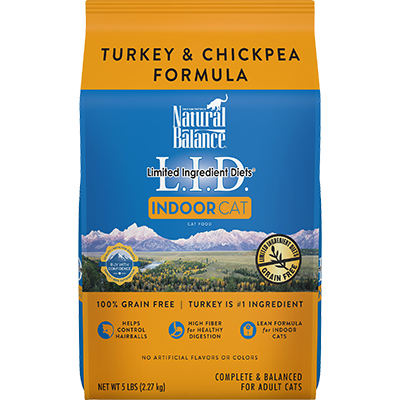 NATURAL BALANCE L.I.D. INDOOR CAT TURKEY & CHICKPEA FORMULA