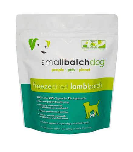 SMALLBATCH DOG FREEZE DRIED LAMB SLIDERS 14OZ